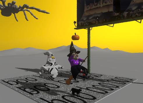 """Input text: The stone floor is on the mountain range. A black cat is on the stone floor.The """"boo"""" texture is on the floor.The witch is above the cat. the pumpkin is above the witch. a white """"Rockwell"""" ghost is 3 feet behind the cat.  the ghost is 1 foot above the floor. the sky is orange. The impi-29 billboard is 10 feet to the right of the cat. The billboard is facing left. the 3 foot tall spider is 4 feet behind the ghost. the spider is 19 feet above the ground."""
