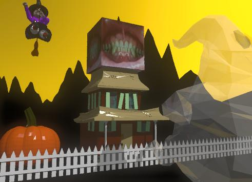 Input text: the haunted house is on the black mountain range.  the mountain range is 130 feet tall. the mountain range is 200 feet wide. the enormous pumpkin is 4 feet to the left of the house.  the sky is orange. the large witch is 10 feet above the pumpkin. the ground is black.  the white picket fence is 3 feet in front of the house. the fence is 70 feet wide.  The  shiny white ghost is in front of the fence. the ghost is 20 feet tall. the transparency of the ghost is 30%.    there is a enormous mouth on the house.