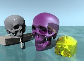 The golden skull is in the watery ground. The shiny purple skull is next to the golden skull. The foam skull is in the tiny zebra skin rowboat. the foam skull is facing right.