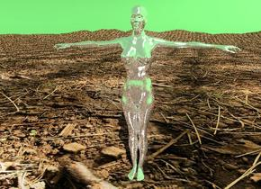 the silver woman is on the mountain range. the mountain range has a dirt texture. the sky is forest green.
