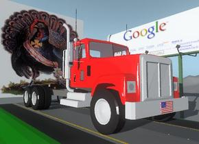 the impi-39 billboard is on the tall mountain range. the road is in front of the billboard. the road is facing left. the truck is on the road. the truck is facing right. the  cube is on the right of the truck. the cube is 2 feet wide and 1 feet tall. the cube is 1 inch deep. the design-img-iz1224 texture  is on the cube. the cube is facing right. the cube is 2 feet above the road. the humongous  turkey cube is to the left of the truck. the turkey cube is 2 feet above the road.
