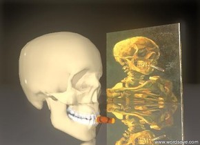 the short  thin cigar is in the jteeth of the glass skull. the skull is three feet  in front of the  large painting-img-ar1307 cube. the ground is silver. the sky is black. a bright orange point_light is fifty feet above the skull. the skull is facing right.