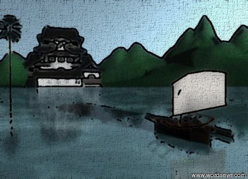 Input text: the polka dot mountain range is extremely tall. the polka dot texture is 10 feet wide. The small palm tree is to the left of the small castle. the huge watery floor is 10 feet in front of the castle. the castle is on the mountain range.  The small HOUSE-VP23916 is 10 feet to the left of the palm tree. The very tiny outrigger canoe is in the floor.