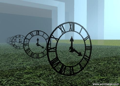 Input text: the clock is one foot in front of the silver wall.  the ground has a grass texture. the texture is one foot wide. a  silver wall is two feet in front of the clock. it is facing the clock.. a point_light is fifty feet above the clock.