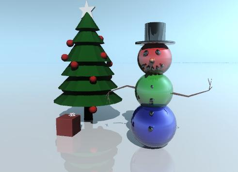Input text: The head of the shiny snowman is red. the midbod of the snowman is green. the bottom of the snowman is blue. The ground is shiny.  The christmas tree is behind the snowman. it is to the left of the snowman. The gift is in front of the tree. the ribbon of the gift is pink.