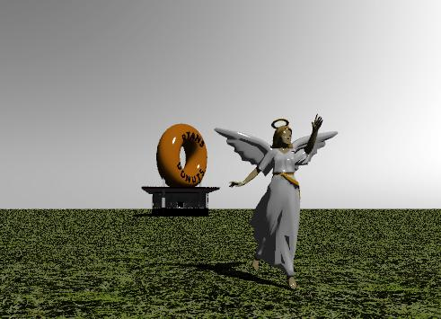Input text: The angel is one hundred  feet in front of  the donut shop. the ground is grassy. the sky is white.