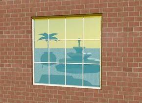the window is on top of the brick wall. the wall is twenty feet wide and four feet high.  a brick wall is to the right of the window. a brick wall is to the left of the window. a brick wall is on top of the window. the ground is stone. the small fountain  is five feet  behind the window. a stone cauldron is to the left of the fountain. the cauldron is 2.5  feet high. A palm tree is in the cauldron. The tree is five feet tall. The sky is orange.