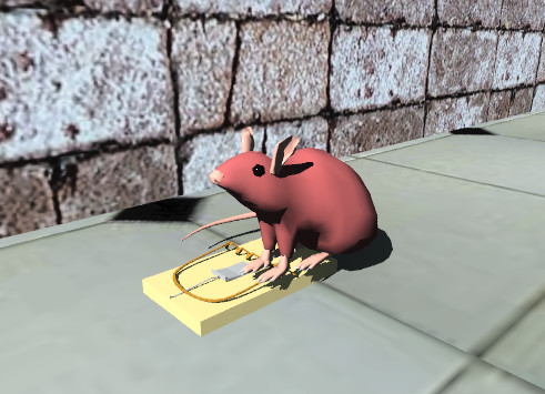 Input text: the small brown mouse is on the mousetrap. the trap is on the tile floor. the brick wall is on the floor. it is facing right. the wall is six inches away from the trap.