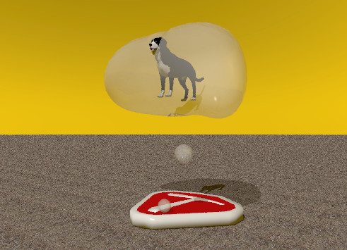 Input text: the big steak is on the ground. the ground has a grass texture. the texture is one foot wide. the thought bubble is above the steak. the small black dog is inside the thought bubble. the sky is orange.