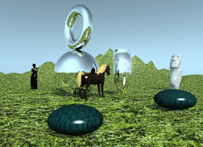 the humongous silver sphere is on the very tall grassy mountain range.  The large horse is in front of the sphere.  it is facing right. the humongous silver donut is above the sphere. it is facing left. the humongous silver tube is four feet to the right of the horse.  the very large black venus de milo is forty feet behind the sphere.  the very large grey easter island figure is forty feet to the right of the tube.  it is facing the tube.  the teal pebble is twenty five feet in front of the horse. the pebble is ten feet wide.  a  pink pebble is twenty feet to the left of the teal pebble. it is eight feet wide.