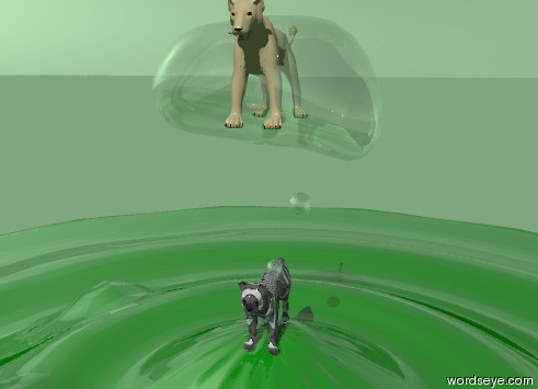 Input text: A cat is on the hill. There is a bubble over the cat. A small lion is inside the bubble. The cat is striped. The hill is green and shiny. The ground is light green. The sky is light green.