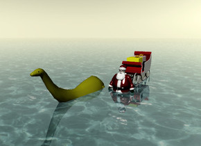 the santa claus is in the shiny ocean. the small olive color brontosaurus is next to the santa claus. it is in the ocean. the sky is pale yellow.  The red sleigh is behind the santa claus. it is on the ocean.  The large pink gift is on the sleigh.  the large yellow gift is in front of the large pink gift.