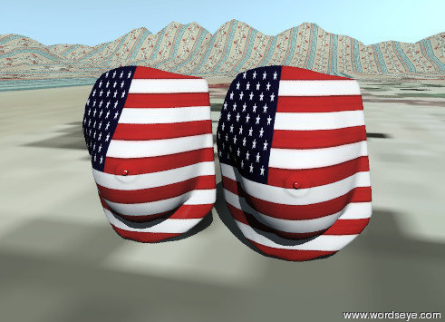 Input text: Large american breasts are on the very tall textile pattern mountain range.