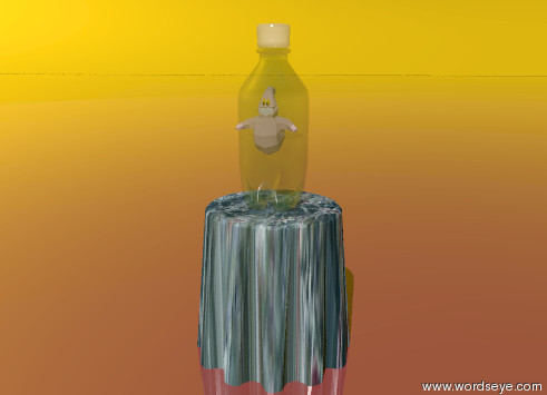 Input text: There is a huge transparent    soda-bottle-vp1932 on the  compound-vp6172 of water texture. The tiny ghost is pink. The  tiny ghost is 1 foot above the compound-vp6172. The ground is shiny and brown. The sky is orange and shiny.