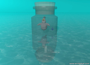 The ground is water texture and the humongous transparent  spice-bottle-vp41749 is in the ground.  A medium pink ghost is 1 foot above the ground inside the bottle. A tiny blue transparent ghost is to the right of  the pink ghost. The sky is aqua and shiny.
