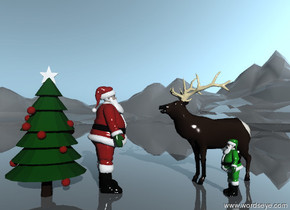 The Santa Claus is to the right of the christmas tree. The Santa Claus is facing right. The elk is facing left. The elk is two feet to the right of the Santa Claus. The tree is on the very tall shiny mountain range.  It is morning. The scene is facing east.  The small green Santa Claus is in front of the elk.  It is facing the tree.
