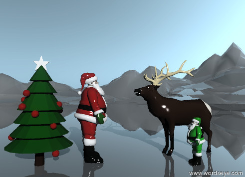 Input text: The Santa Claus is to the right of the christmas tree. The Santa Claus is facing right. The elk is facing left. The elk is two feet to the right of the Santa Claus. The tree is on the very tall shiny mountain range.  It is morning. The scene is facing east.  The small green Santa Claus is in front of the elk.  It is facing the tree.