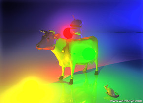 the silver armor helmet is on the gold cow. the ground is shiny. the sky is blue. a red light is to the left of the helmet. a green light is to the right of the cow. a yellow light is in front of the cow. the green light is two feet above the ground. the rat is two feet to the right of the cow. the rat is facing the cow. it is dawn. the horns of the cow are checkerboard.  the head of the cow is purple. the head of the cow is shiny.