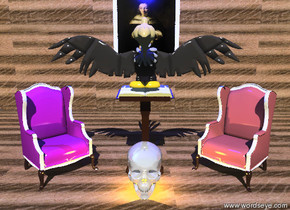 the buzzard-vp40228 is on the pedestal. the shiny grey skull is in front of the pedestal. The pedestal is on the 14 foot wide wood floor. there is a wooden wall 6 feet behind the pedestal. a painting is on the wall. the small brown  armchair-vp6455 is six inches to the right of the pedestal. the chair is facing southwest. the small purple armchair-vp6455 is six inches to the left of the pedestal. the chair is facing southeast. there is a tiny bright yellow light inside the skull. the blue light is three feet above the bird.