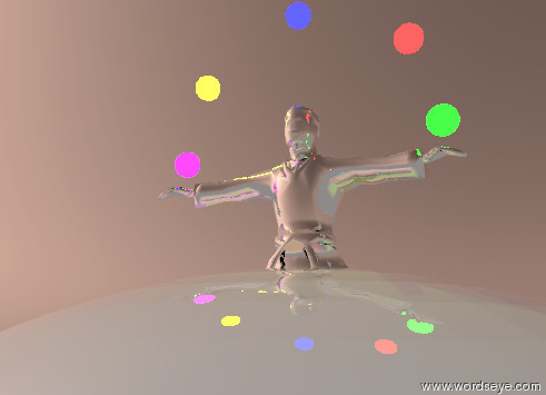 Input text: The silver karate man is in the gigantic sphere. The sphere is silvery. The sphere is shiny. The sky is dark salmon. The sun is bright. A small blue LIGHT is 1.75 feet above the man. A small red LIGHT is 0.65 feet above the man. It is 1.5 feet to the right of the blue LIGHT. A small yellow LIGHT is 0.65 feet above the man. It is 1.5 feet to the left of the blue LIGHT. A small green LIGHT is 1.1 feet below the red LIGHT. It is 1.9 feet to the right of the blue LIGHT. A small purple LIGHT is 1.1 feet below the yellow LIGHT. It is 1.9 feet to the left of the blue LIGHT.