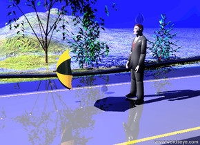 the umbrella is 3 feet in front of the business man. the umbrella is three feet above the ground. the umbrella is facing down. the man is on the freeway.the huge grass hill is to the left of the freeway. the ground is grass. the spruce tree is to the left of the freeway. the second spruce tree is 12 feet behind the spruce tree. the small weeping willow tree is 8 feet in front of the spruce tree. the ground is  shiny. the hill is shiny. the freeway is shiny. the sky is dark blue. a gigantic water water drop is above the man. a gigantic water drop is one foot in front of the man. the gigantic water drop is one foot to the left of the man. the enormous water drop is one foot in front of the umbrella. the enormous water drop is one foot to the left of the umbrella. the third gigantic water drop is behind the spruce tree.