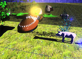 the gigantic loafer is six feet above the grass floor. the ground is grass. the 3.4 feet tall dragon is in the shoe. the sky is blue. the bright yellow light is in the dragon. it is morning. the huge pink pig is to the right of the floor. the pig is facing the floor. the blue light is 2 feet to the right of the pig. the huge reflective grass wall is 10 feet behind the floor. the huge green bush is to the left of the floor.  the spruce tree is behind the pig.