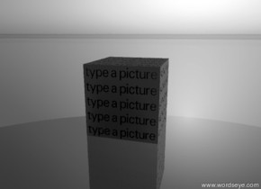 """the """"type a picture"""" grey block is on the shiny glass ground. it is morning. the sky is grey."""