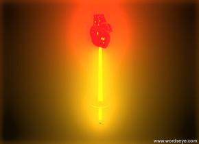 the red heart is in the small sword. the sky is black. the ground is black. the sun is gold. the orange light is three feet in front of the sword.