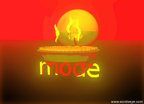 """the pie is on the yellow """"Mode"""". the sky is red. the ground is black. the sun is yellow.  the gold sphere is behind the pie."""
