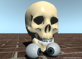 a skull. an eye golf ball is in front of the skull. the ball is facing southeast. a second eye golf ball is to the left of the first eye golf ball. it is facing southwest.  the ground is   texture-img-iz1523.  the sky is reflective.