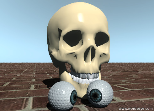 Input text: a skull. an eye golf ball is in front of the skull. the ball is facing southeast. a second eye golf ball is to the left of the first eye golf ball. it is facing southwest.  the ground is   texture-img-iz1523.  the sky is reflective.