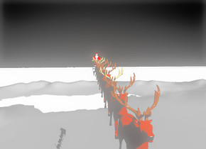 santa is on a sleigh. the sleigh is 50 feet above the ground. a reindeer is in front of the sleigh. a second reindeer is in front of the reindeer. a third reindeer is in front of the second reindeer. a fourth reindeer is in front of the  third reindeer. a fifth reindeer is in front of the fourth reindeer. a sixth reindeer is in front of the fifth reindeer. a seventh reindeer is in front of the sixth reindeer. an eighth reindeer is in front of the seventh reindeer. a mountain range is on the ground. the sky is black