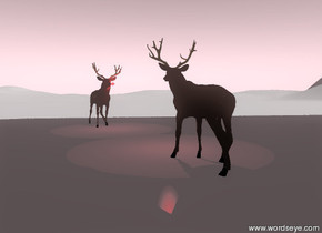 there is a tiny bright red light on the nose of the  deer-vp3614. the deer is on the tall white mountain range. the deer is facing a silver wall. the wall is facing the deer. the wall is on the mountain range.  the deer is five feet away from the wall. the wall is one hundred feet wide and fifty feet tall.  the sky is pink.