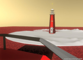 A red lighthouse is on the huge white island. The island is on the celadon blush pink sea. The sky is autumn gold. The orange point_light  is five feet above the lighthouse.  A huge big red boat is 160 feet in front of the lighthouse. The boat is facing north