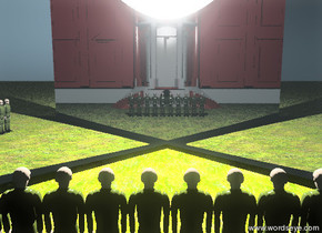 ten soldiers are on the grass ground. the there is a huge reflective wall 1 feet in front of the soldiers. the wall is facing northwest. there is a giant shiny wall 1 feet in front of the soldiers. the wall is facing northeast. there is a gigantic white light in the wall. the american white house is 15 feet behind the soldiers.