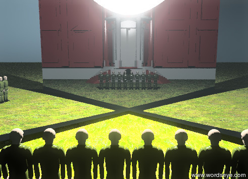 Input text: ten soldiers are on the grass ground. the there is a huge reflective wall 1 feet in front of the soldiers. the wall is facing northwest. there is a giant shiny wall 1 feet in front of the soldiers. the wall is facing northeast. there is a gigantic white light in the wall. the american white house is 15 feet behind the soldiers.