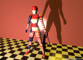 the american woman is three feet in front of the brown wall. the wall is on the shiny floor. the shiny floor is checkerboard. the large silver light is six feet in front of the woman. the large silver light is one foot to the left of the woman. the sky is black. the sun is gold. the patriotic painting is -4 feet to the left of the wall..