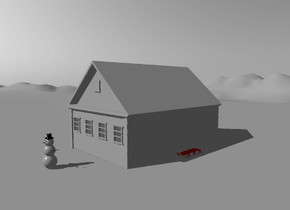 the white cabin is on the tall white mountain range. the sky is white. a snowman is five feet  in front of the cabin. the red sled is to the right of the house.