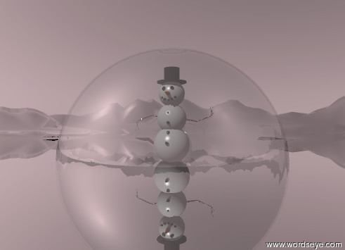 Input text: the very huge glass sphere is in the very tall   silver mountain range. the  cube is inside the sphere. the cube is 3.9 feet high.  the  snowman is on the cube. it is 3.5 feet high.  the sky is pink.