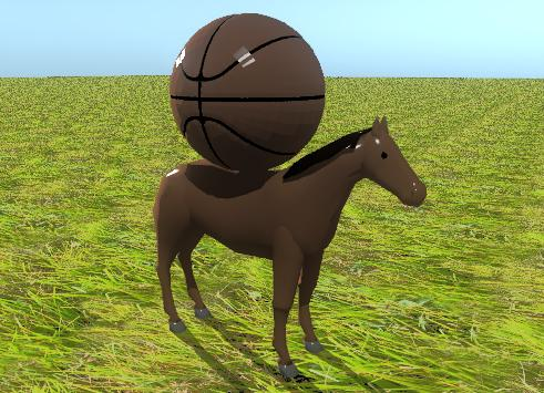 Input text: the huge basketball is on the horse.  the ground has a sl1038 texture.
