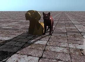 the cat is brown. the ground has a stone texture. the dog is next to the cat. the dog is in the ground.