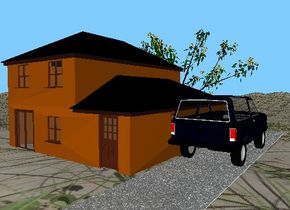 The car is on the driveway. The driveway is 50 feet deep. the driveway is next to the house. The  tree is in front of the house.  the house is on the mountain range. the mountain range has a grass texture.