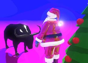 The shiny Santa Claus is to the right of the christmas tree. The Santa Claus is facing right. The elk is facing left. The elk is two feet to the right of the Santa Claus. The ground is shiny. The ground is purple.  The sky is dark blue.