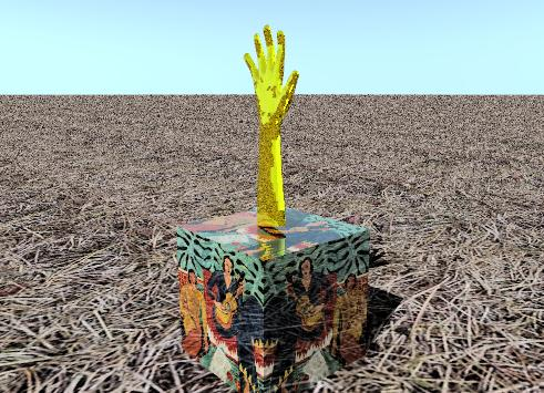 Input text: the hay texture is on the ground. the small Matisse cube is shiny. the gold glove is on the cube.