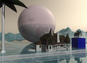The house is 10 feet in front of the shiny pink sphere. The sphere is 60 feet tall. The sphere is on the tall shiny mountain range. The mountain range has a water texture. The palm tree is to the left of the house. The elephant is on an enormous blue cube. The cube is 10 feet to the right of the house.The white picket fence is 10 feet in front of the house. It is 80 feet wide. the sky is tan.