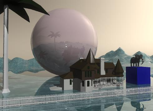 Input text: The house is 10 feet in front of the shiny pink sphere. The sphere is 60 feet tall. The sphere is on the tall shiny mountain range. The mountain range has a water texture. The palm tree is to the left of the house. The elephant is on an enormous blue cube. The cube is 10 feet to the right of the house.The white picket fence is 10 feet in front of the house. It is 80 feet wide. the sky is tan.