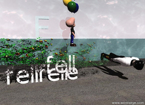 """a """"fell"""" is on the right side of a """"fell"""". the rose is on a """"fell"""". the transparent rose is on an """"e"""".   the sky is pink. the humongous """"F"""" is 150 feet behind the transparent rose. the transparent sea is behind the rose. the sandy ground. the man is to the right of the flower. the man is facing down. the   compound-vp24152 is 2 feet above the """"e"""". the boy is facing right."""