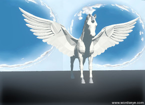 An unreflective small pegasus is 1  feet above the black ground.  A cloud-img-iz1015 wall is 5 feet behind the pegasus.