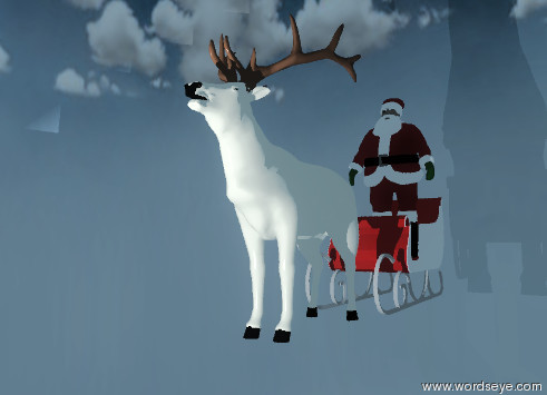 Input text: the very humongous cloud-img-iz1015  sphere is on the sky blue ground. a beige elk is fifty feet above the bottom of the sphere.  The light is 5 feet in front of the elk. the red sleigh is behind the elk.  Santa Claus is on the sleigh.