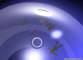 """the gigantic cloud glass sphere is on the ground. the black man is 10 feet above the sphere. it is facing down. the black adult man is 30 feet above the sphere. it is facing down. the black boy is five feet to the left of the adult man. it is facing down. the sky is blue. the large purple light is 10 feet above the boy. the huge black """"Men"""" is five feet behind the boy. it is facing down. the large white light is inside the sphere."""